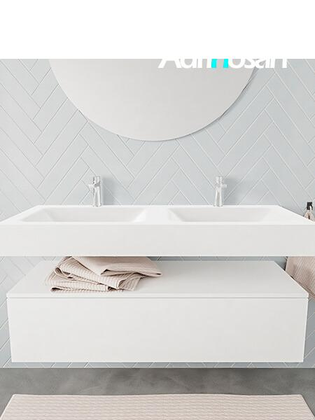 Mueble suspendido ALAN 120 cm de 1 cajón blanco mate. Encimera con lavabo CLOUD doble 2 orificios blanco mate