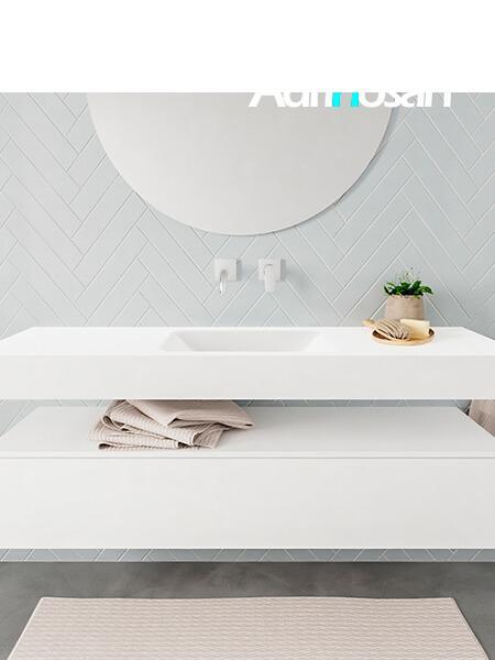 Mueble suspendido ALAN 150 cm de 1 cajón blanco mate. Encimera con lavabo CLOUD centro sin orificio blanco mate