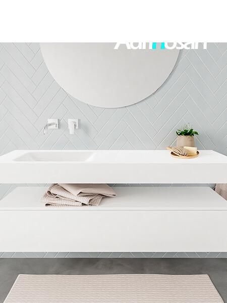 Badkamermeubel met solid surface wastafel model ALAN wit kast white front 00017 1