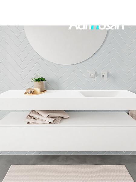 Mueble suspendido ALAN 150 cm de 1 cajón blanco mate. Encimera con lavabo CLOUD derecha sin orificio blanco mate