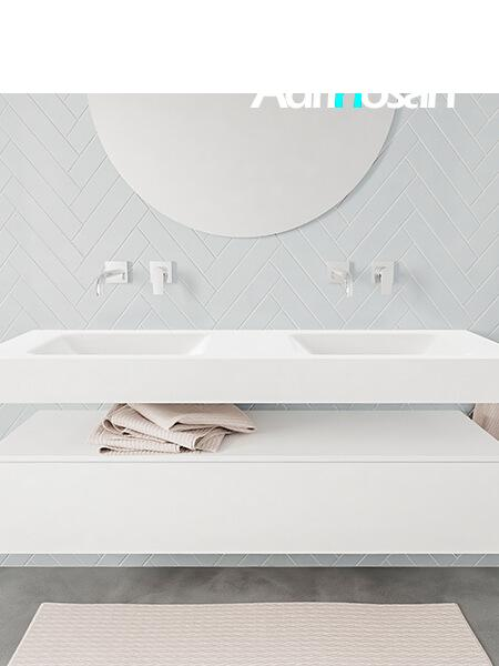 Mueble suspendido ALAN 150 cm de 1 cajón blanco mate. Encimera con lavabo CLOUD doble sin orificio blanco mate