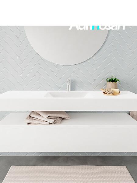 Badkamermeubel met solid surface wastafel model ALAN wit kast white front 00020 1