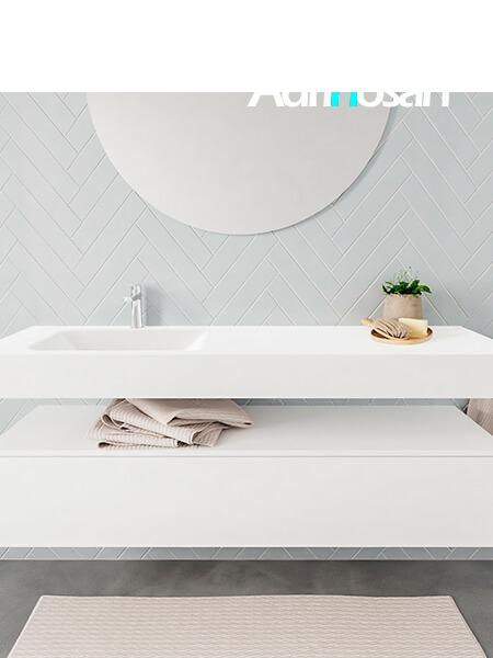 Badkamermeubel met solid surface wastafel model ALAN wit kast white front 00021 1