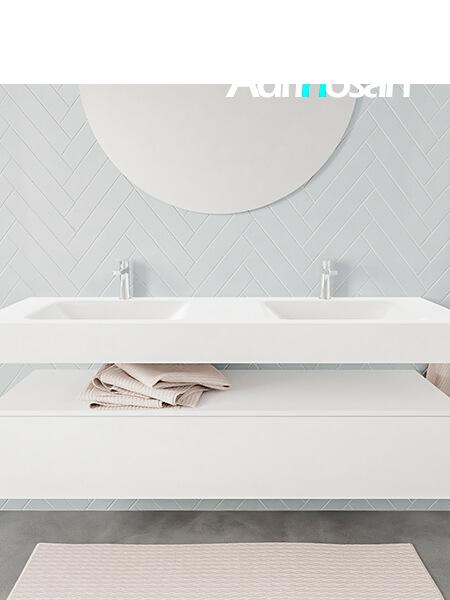 Mueble suspendido ALAN 150 cm de 1 cajón blanco mate. Encimera con lavabo CLOUD doble 2 orificios blanco mate