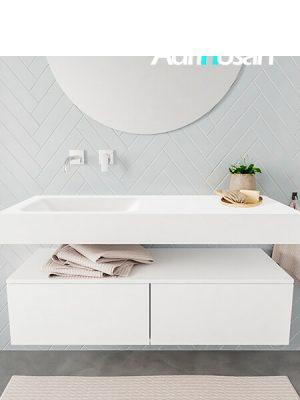 Badkamermeubel met solid surface wastafel model ALAN wit kast white front 00025 1