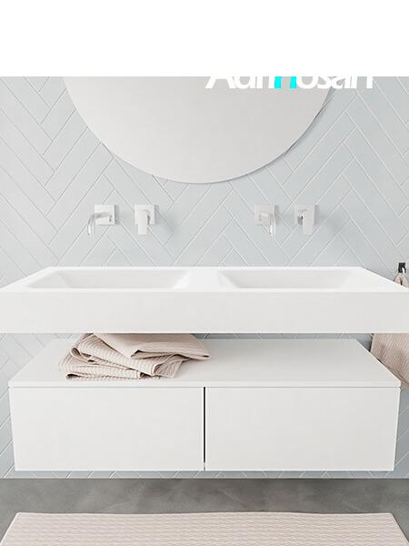 Mueble suspendido ALAN 120 cm de 2 cajones blanco mate. Encimera con lavabo CLOUD doble sin orificio blanco mate