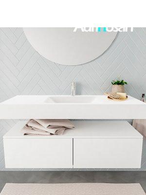 Badkamermeubel met solid surface wastafel model ALAN wit kast white front 00028 1