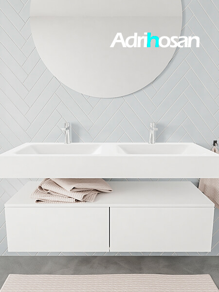 Mueble suspendido ALAN 120 cm de 2 cajones blanco mate. Encimera con lavabo CLOUD doble 2 orificios blanco mate