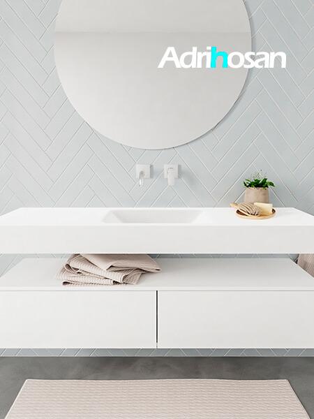 Badkamermeubel met solid surface wastafel model ALAN wit kast white front 00032 1