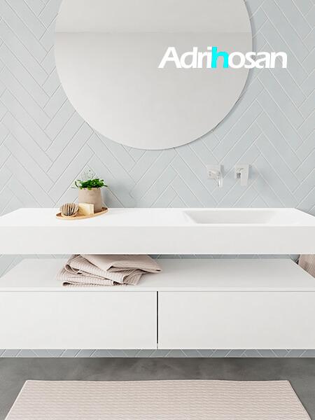 Mueble suspendido ALAN 150 cm de 2 cajones blanco mate. Encimera con lavabo CLOUD derecha sin orificio blanco mate