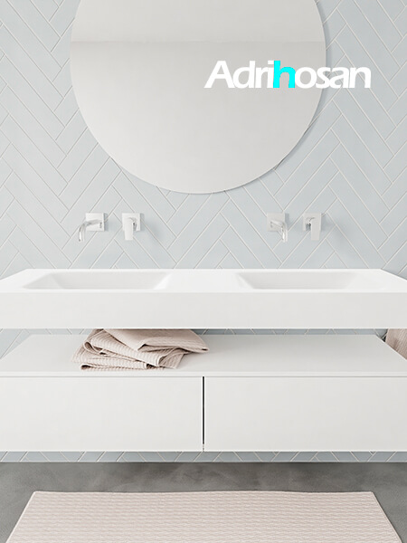 Mueble suspendido ALAN 150 cm de 2 cajones blanco mate. Encimera con lavabo CLOUD doble sin orificio blanco mate