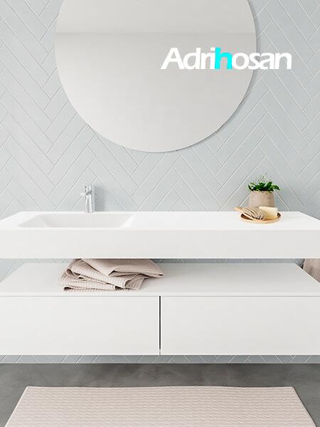 Mueble suspendido ALAN 150 cm de 2 cajones blanco mate. Encimera con lavabo CLOUD izquierda 1 orificio blanco mate