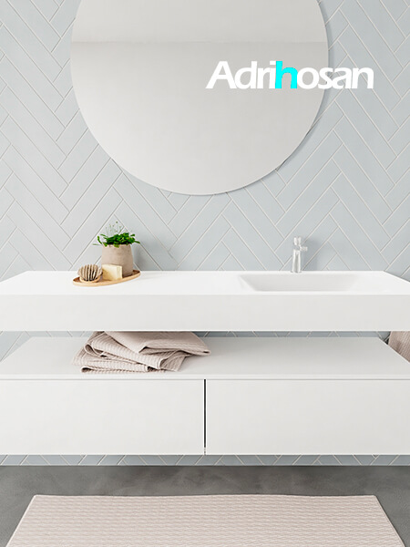 Mueble suspendido ALAN 150 cm de 2 cajones blanco mate. Encimera con lavabo CLOUD derecha 1 orificio blanco mate