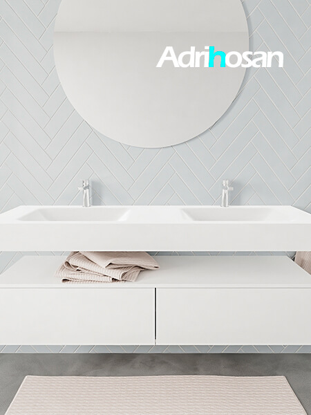 Mueble suspendido ALAN 150 cm de 2 cajones blanco mate. Encimera con lavabo CLOUD doble 2 orificios blanco mate
