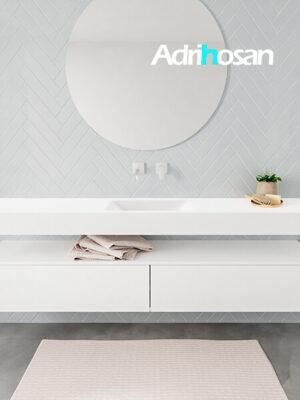 Badkamermeubel met solid surface wastafel model ALAN wit kast white front 00040 1