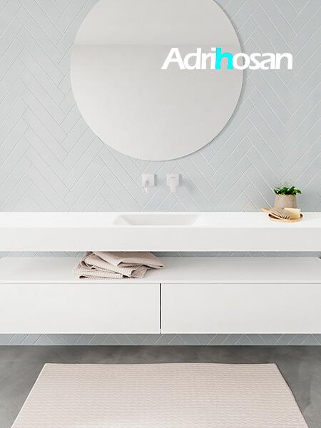 Mueble suspendido ALAN 200 cm de 2 cajones blanco mate. Encimera con lavabo CLOUD centro sin orificio blanco mate