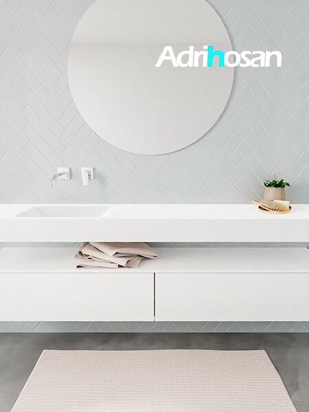 Badkamermeubel met solid surface wastafel model ALAN wit kast white front 00041 1