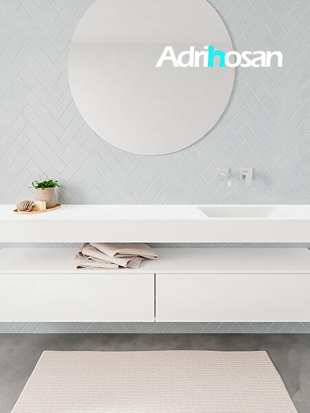 Mueble suspendido ALAN 200 cm de 2 cajones blanco mate. Encimera con lavabo CLOUD derecha sin orificio blanco mate