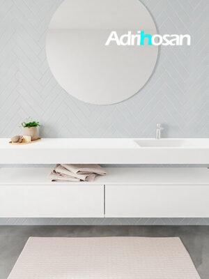 Badkamermeubel met solid surface wastafel model ALAN wit kast white front 00046 1