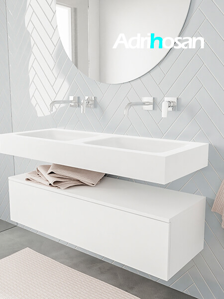 Badkamermeubel met solid surface wastafel model ALAN wit kast white side 00011 1