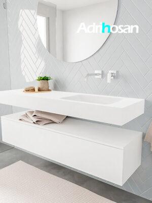 Badkamermeubel met solid surface wastafel model ALAN wit kast white side 00018 1