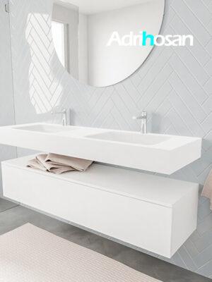 Badkamermeubel met solid surface wastafel model ALAN wit kast white side 00023 1