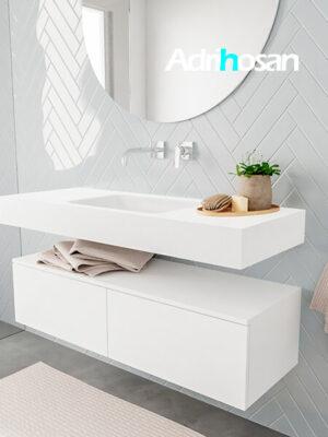 Badkamermeubel met solid surface wastafel model ALAN wit kast white side 00024 1