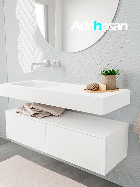 Badkamermeubel met solid surface wastafel model ALAN wit kast white side 00025 1