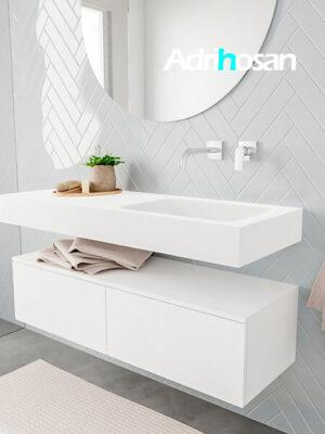 Badkamermeubel met solid surface wastafel model ALAN wit kast white side 00026 1