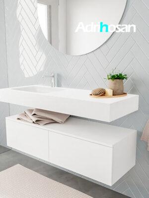 Badkamermeubel met solid surface wastafel model ALAN wit kast white side 00029 1