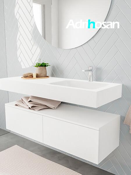 Badkamermeubel met solid surface wastafel model ALAN wit kast white side 00030 1