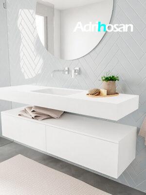 Badkamermeubel met solid surface wastafel model ALAN wit kast white side 00032 1