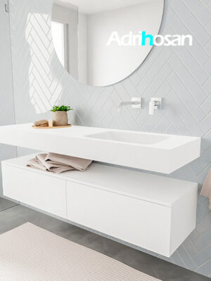 Badkamermeubel met solid surface wastafel model ALAN wit kast white side 00034 1
