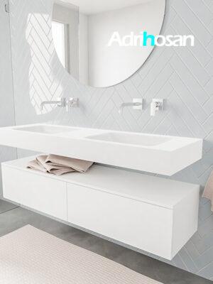 Badkamermeubel met solid surface wastafel model ALAN wit kast white side 00035 1