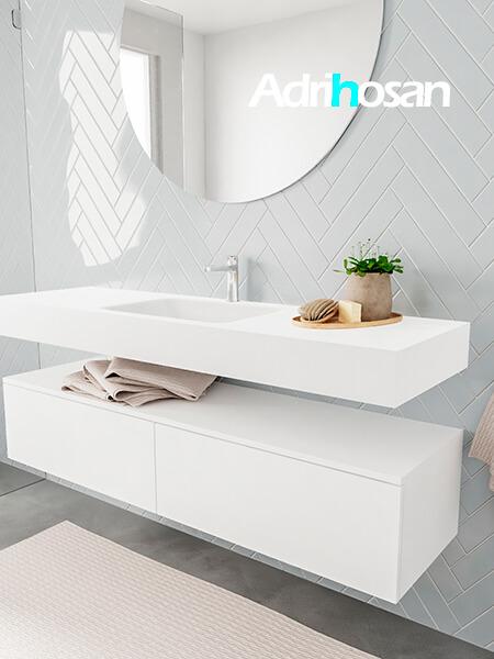 Badkamermeubel met solid surface wastafel model ALAN wit kast white side 00036 1