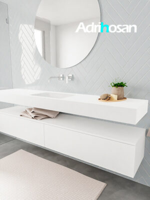 Badkamermeubel met solid surface wastafel model ALAN wit kast white side 00040 1