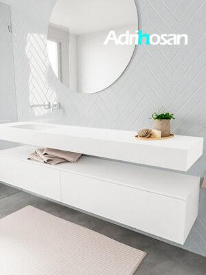 Badkamermeubel met solid surface wastafel model ALAN wit kast white side 00041 1