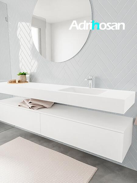 Badkamermeubel met solid surface wastafel model ALAN wit kast white side 00046 1