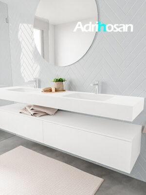 Badkamermeubel met solid surface wastafel model ALAN wit kast white side 00047 1