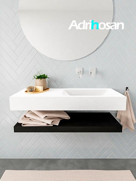 Mueble suspendido ALAN 100 cm de Sin cajones urban. Encimera con lavabo CLOUD derecha sin orificio blanco mate