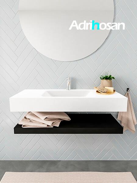 Mueble suspendido ALAN 100 cm de Sin cajones urban. Encimera con lavabo CLOUD centro 1 orificio blanco mate