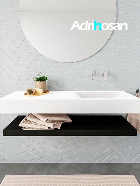 Mueble suspendido ALAN 120 cm de Sin cajones urban. Encimera con lavabo CLOUD derecha sin orificio blanco mate