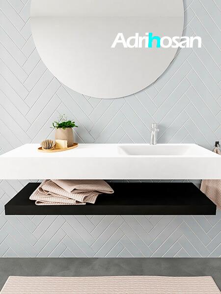 Mueble suspendido ALAN 120 cm de Sin cajones urban. Encimera con lavabo CLOUD derecha 1 orificio blanco mate