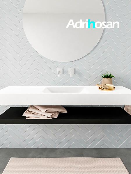 Mueble suspendido ALAN 150 cm de Sin cajones urban. Encimera con lavabo CLOUD centro sin orificio blanco mate