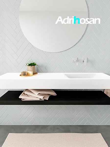 Mueble suspendido ALAN 150 cm de Sin cajones urban. Encimera con lavabo CLOUD derecha sin orificio blanco mate