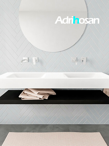 Mueble suspendido ALAN 150 cm de Sin cajones urban. Encimera con lavabo CLOUD doble sin orificio blanco mate