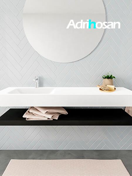 Mueble suspendido ALAN 150 cm de Sin cajones urban. Encimera con lavabo CLOUD izquierda 1 orificio blanco mate