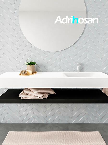 Mueble suspendido ALAN 150 cm de Sin cajones urban. Encimera con lavabo CLOUD derecha 1 orificio blanco mate