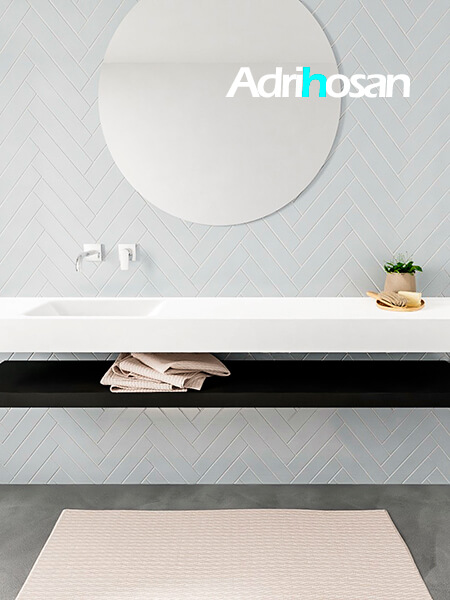 Mueble suspendido ALAN 200 cm de Sin cajones urban. Encimera con lavabo CLOUD izquierda sin orificio blanco mate
