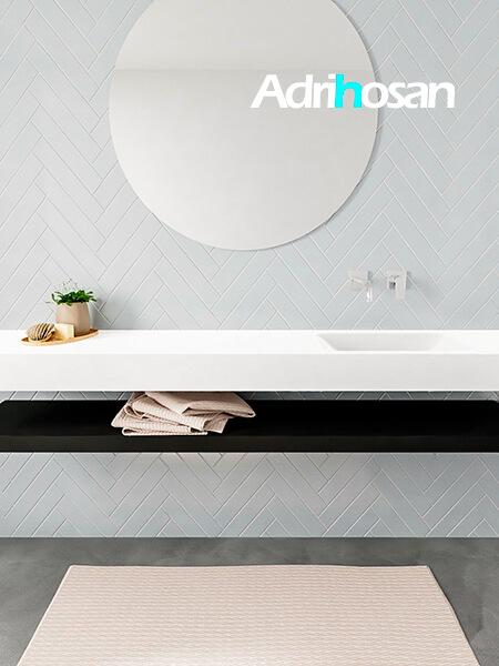 Mueble suspendido ALAN 200 cm de Sin cajones urban. Encimera con lavabo CLOUD derecha sin orificio blanco mate